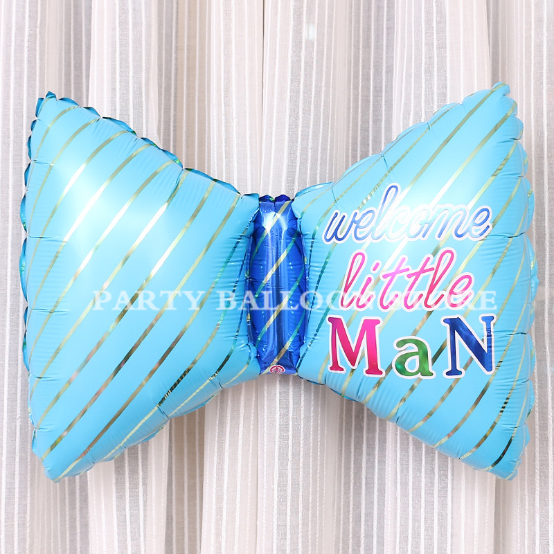 Baby Shower Boy Decoracion.Us 0 96 18 Off 1pc Baby Boy Bow Tie Balloons Decoracion Inflatable Blue Globos For Happy Birthday Ballons Air Ball Baby Shower Party Decoration In