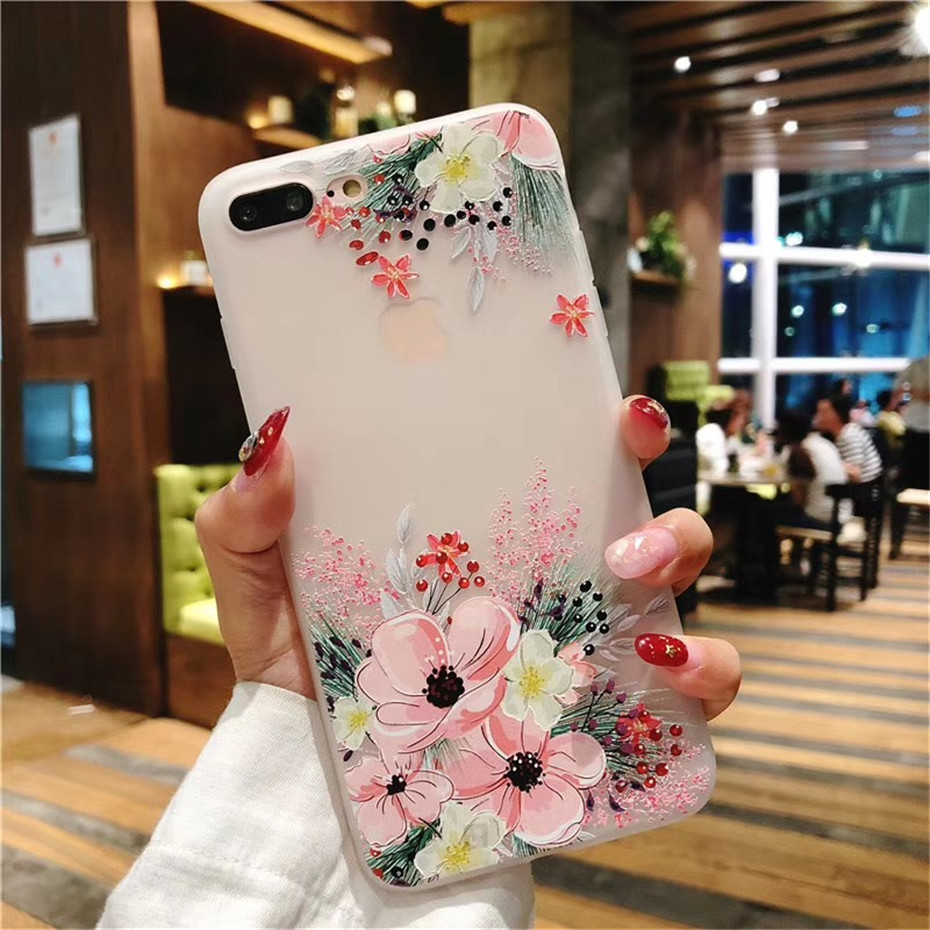 MOUSEMI Luxury 3D Silicone Case For iPhone 6 7 6S 8 Plus 5S SE X XS MAX XR Shockproof Flower Phone Case For iPhone 6 7 Case Girl (10)