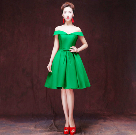 Green Dresses For Wedding Backless Knee Length Short Lace Coc