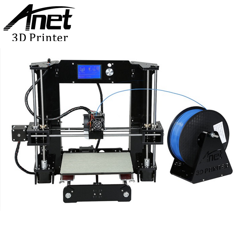 ANET A6 3d printer High-precision RepRap Prusa i3 3D Printer High Quality DIY Easy Assemble Filament Kit SD card Knob LCD screen newest high quality precision reprap prusa i3 3d printer diy kit with 25m filament 8gb sd card and lcd free