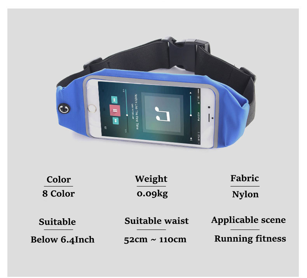 Women Men Running Screen Touch Sport Waist Bag Waterproof Belt Pouch Purse Holder Bag Phone Case For All 6.0 inch Moble Phone