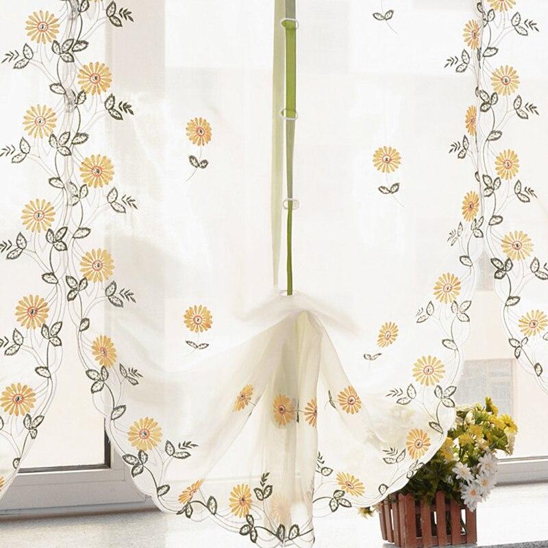 Daisy Kitchen Decor: Daisy Flower Kitchen Balcony Voile Roman Blinds Liftable