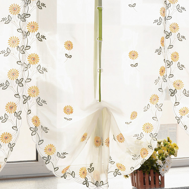 Daisy Flower Kitchen Balcony Voile Roman Blinds Liftable