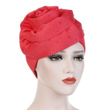 7 Colors Women Cotton Faux Pearl Beaded Decor Muslim Indian Turban Hat Solid Color Twist Spiral Large Flower Hair Loss Che
