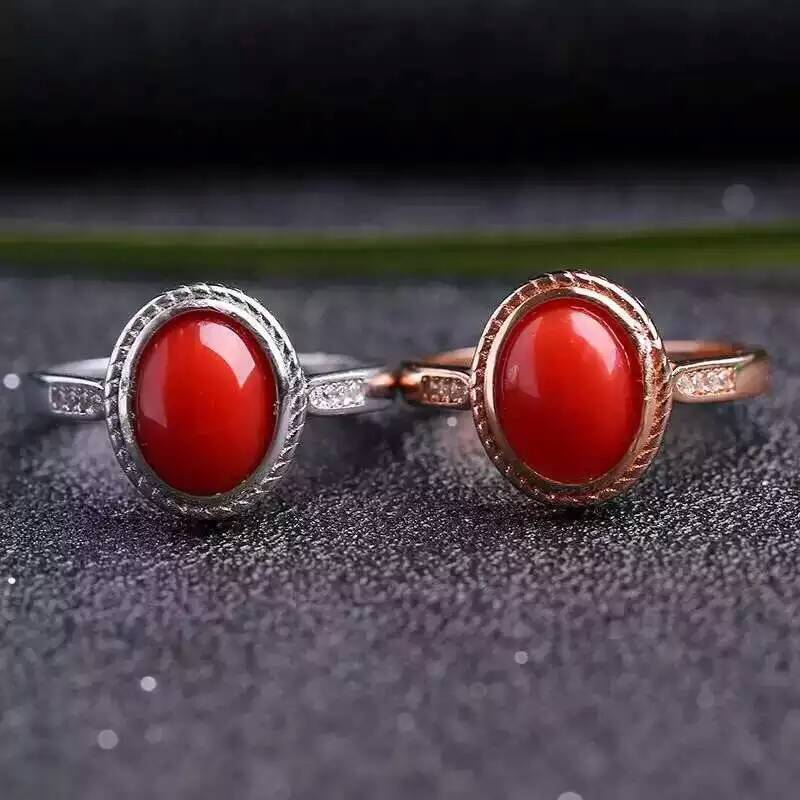 Natural red coral Ring Natural gemstone Ring 925 sterling silver trendy Elegant Simple Delicate round womens party JewelryNatural red coral Ring Natural gemstone Ring 925 sterling silver trendy Elegant Simple Delicate round womens party Jewelry