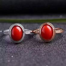 Natural red coral Ring Natural gemstone Ring 925 sterling silver trendy Elegant Simple Delicate round women's party Jewelry