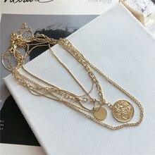 Hiphop Men Women Necklace Coin Figure Multi Layer Necklaces 5pcs/set Round Tag Pendant Chain Punk Jewelry