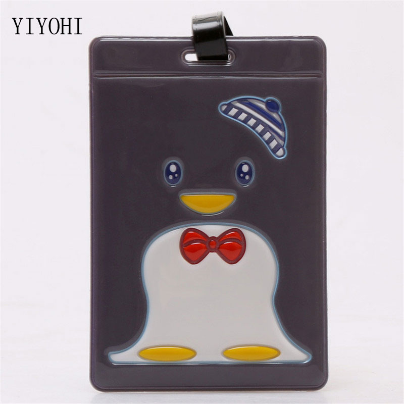 Kawaii Cartoon Penguin Suitcase Luggage Tag Boarding Pass ID Address Holder Baggage Label Identifier Tag Travel Accessories
