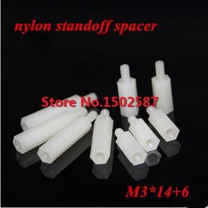 200pcs/lot M3*14+6 Nylon Hex S