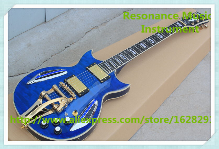Custom Shop Glossy Blue Quilted Finish ES Electric Guitar China OEM LED Guitars For Sale china custom shop transparant grey finish lp electric guitars with mahogany solid body for sale