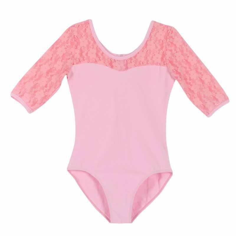 ווג בנות ילד התעמלות בגד גוף תחרה חצי שרוול בלט שמלת ריקוד תלבושות