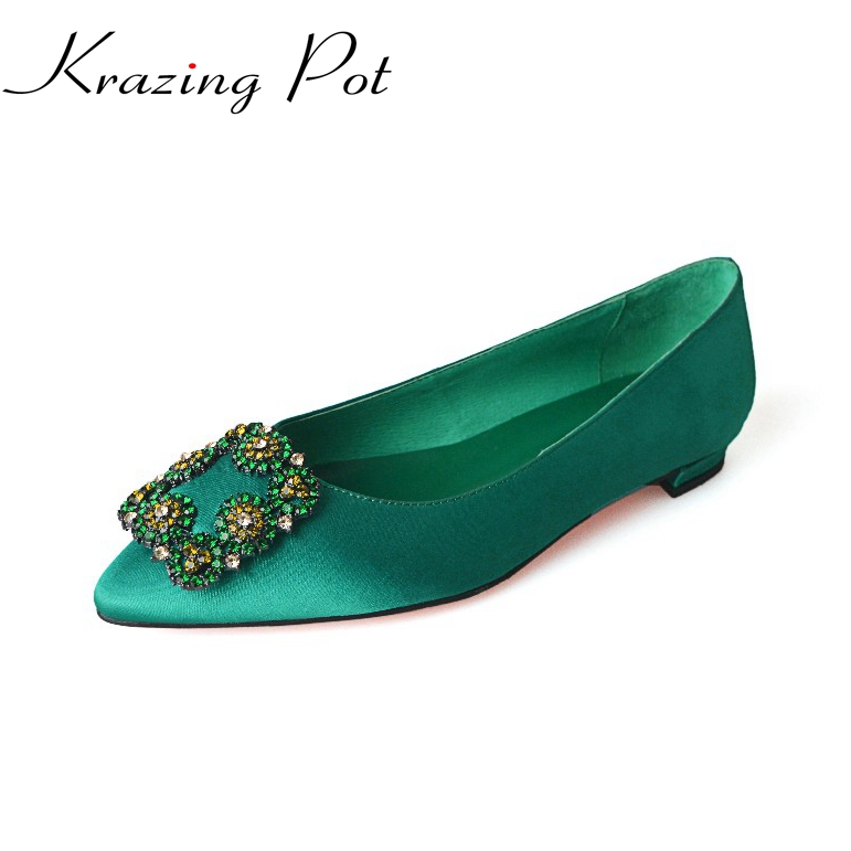 fashion big size brand shoes green crystal shallow thick heel slik women pumps pointed toe party causal office lady shoes L13 2017 new fashion brand spring shoes large size crystal pointed toe kid suede thick heel women pumps party sweet office lady shoe