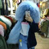 Sky Blue Fox fur Winter Jacket Fashion Color Big Collar Fox Fur Parka
