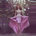 Vestidos De Gala Rosa Alto Bajo Vestidos de Baile Con Apliques de Oro Vestido de Noche Del Partido Vestido de Fiesta Robe de Soirée Longue