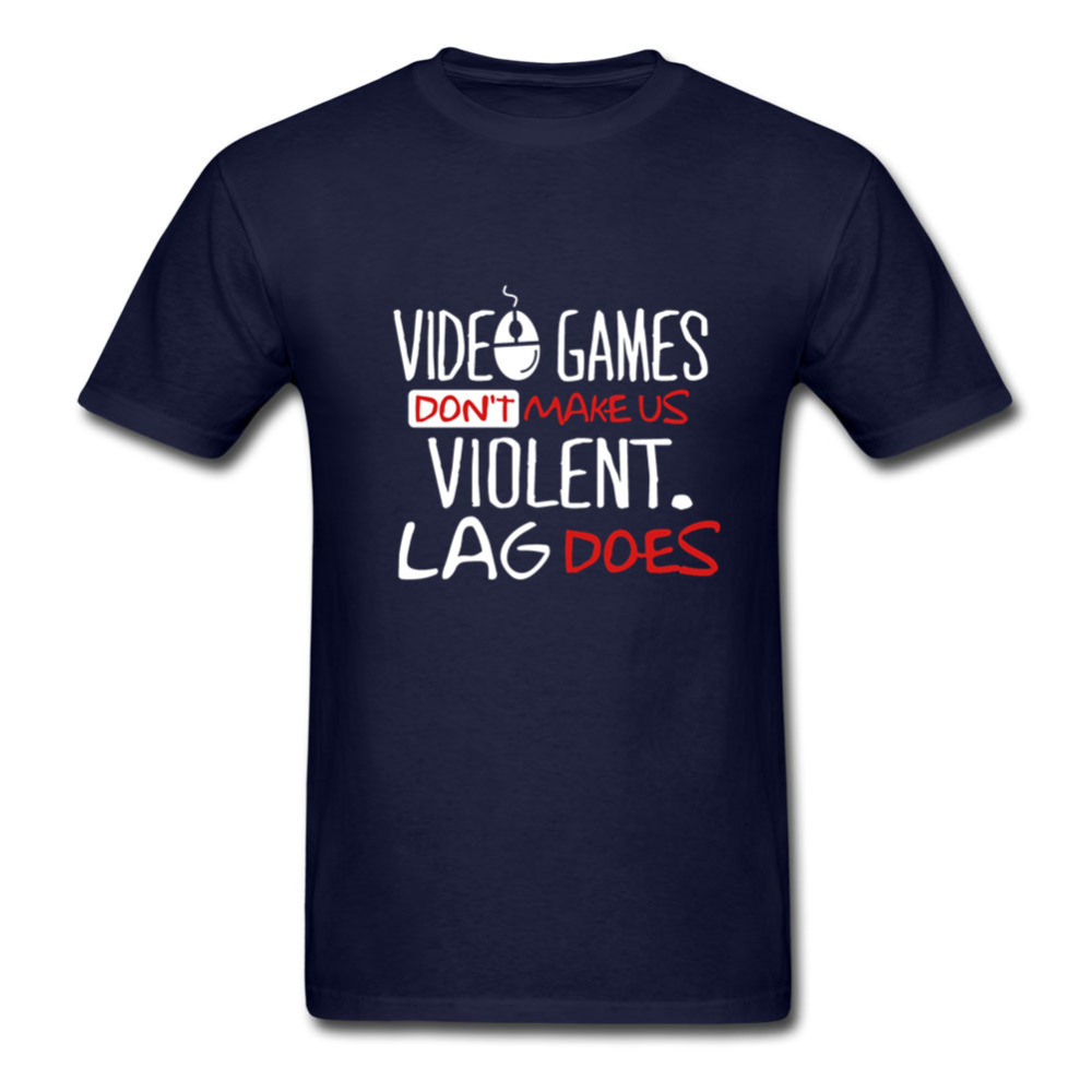 Men T Shirts Video games dont make us violent Lag does Skateboard baseball jersey Short Sleeve Big Size Men T-Shirt Clothing