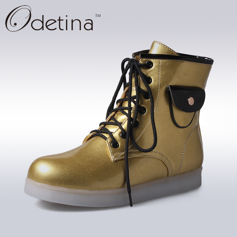 Odetina 2017  7 Colors Led Luminous Light Unisex Boots USB Rechargeable Light Shoes Lace Up Fashion Women High Top Ankle Boots women led light shoes casual shoes led luminous boots unisex genuine leather ankle boots women usb charging martin boots 35 46