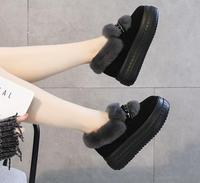 2018 fur one leather snow boots winter thick soled real hair sponge cake women's shoes.