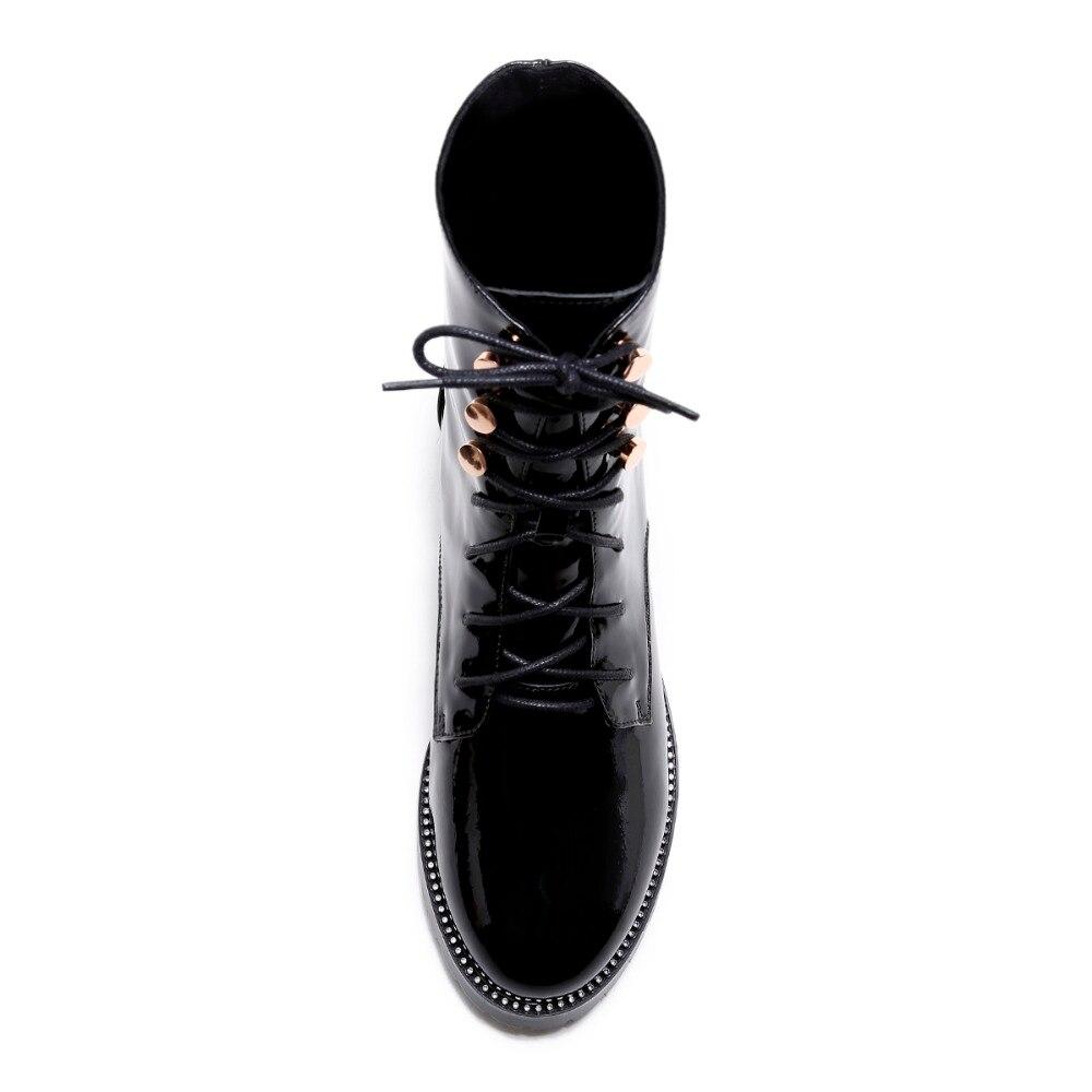 Croix Kcenid Femmes Nouvelle Cheville Talons attaché Mode Chelsea Plus Véritable Chaussures 43 Femme Carrés Automne Taille Pour Cuir En Noir Bottes OqSrO4wn