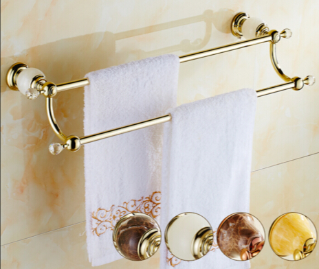 High Quality Gold wall mounted 24 inch Double Towel Bar Brass&Jade Towel Holder Bathroom Towel Rack Bathroom accessories цены онлайн