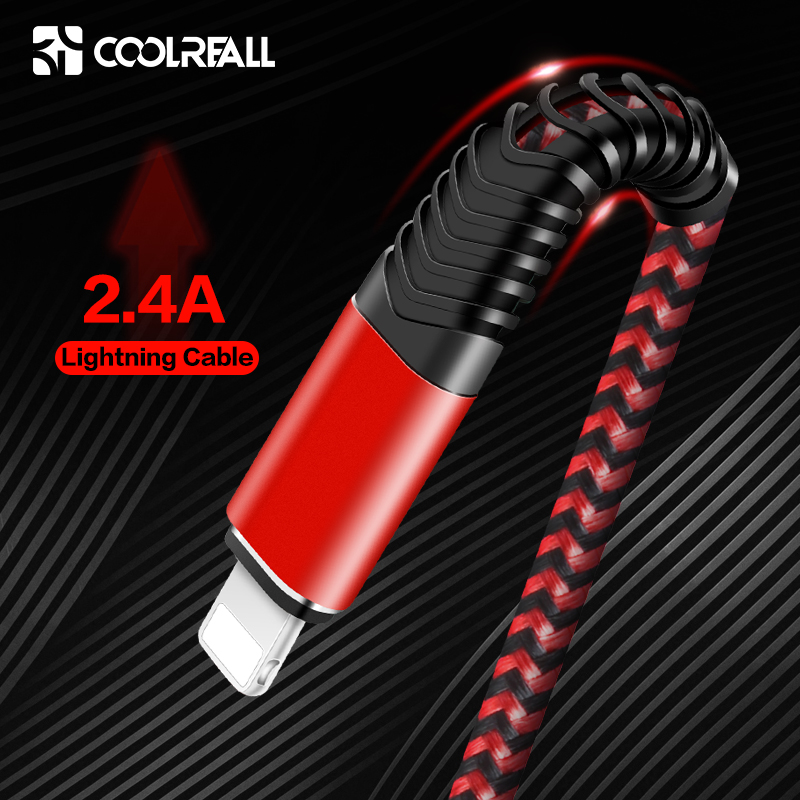 Coolreall USB Cable for iPhone 11 pro max Xr X 8 7 6 plus 6s 5 s plus iPad 2.4A Fast Charging Cable Cord Mobile Phone Data Cable title=
