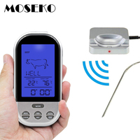 Wireless Remote Digital BBQ Thermometers Oven Grill Meat Cooking Probe Kitchen Thermometer With Timer