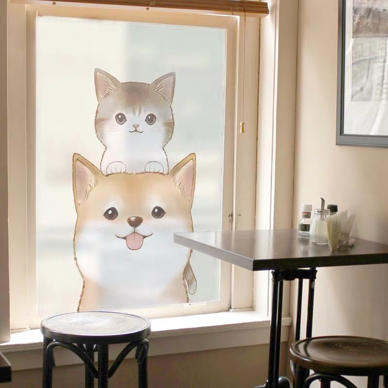 Cat and dog window toning film Cartoon animal Custom Stained static privacy bedroom Pet shop door Decorative window stickers in Decorative Films from Home Garden