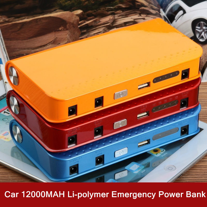 Car Emergency Power Bank Fire Maker High Power 12V Li-polymer 12000mAh Automobile Motorcycle Jump Leads Battery Starter with USB pudini wb 12000m universal 2 5w 12000mah fold up li ion polymer solar power bank white black