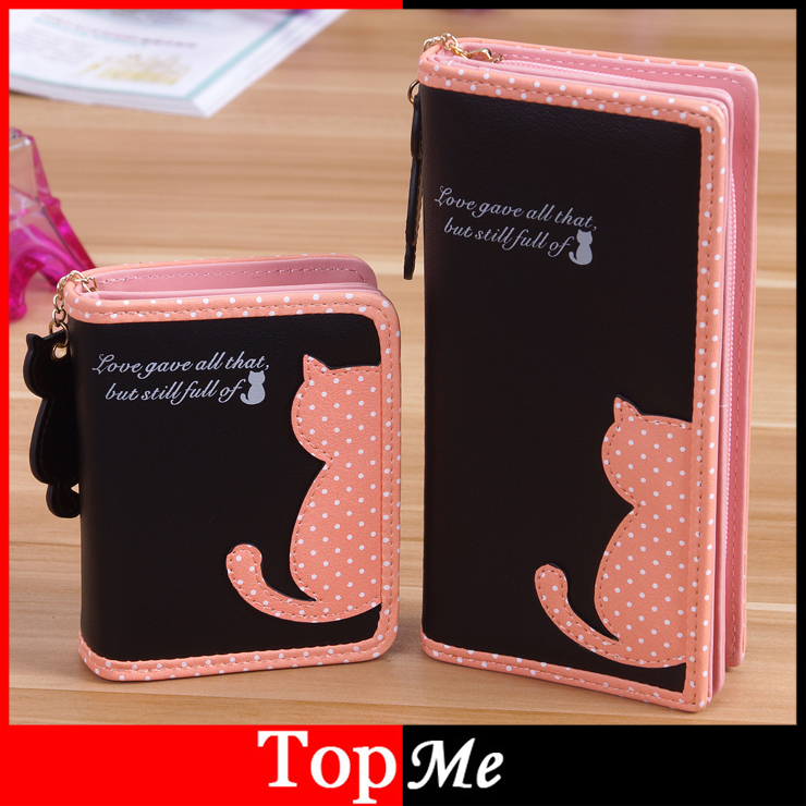 Fashion Women Wallets Zipper Lady Handbags Clutch Coin Purse Cards Holder PU Leather Brand Cat Woman Wallet Moneybags Burse Bags 1