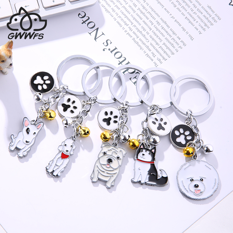 Cute Dog Keychain Metal Pet Keychain Bag Key Ring Lovely Animal Bells Keychains Car Keyring Corgi Sherina Husky Many Dog Breeds