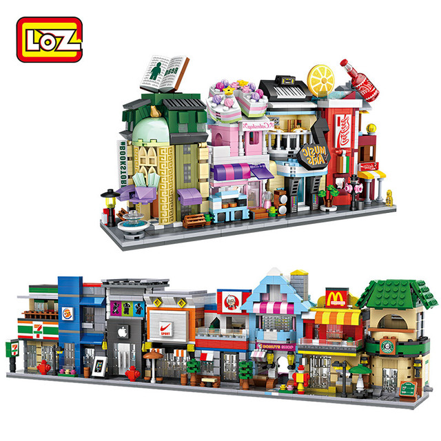 Loz Mini Street Retail Architecture Model Bricks Diy Embly Educational Building Blocks Kids Gift