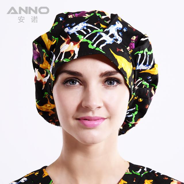 Patrón de impresión Bon Cap adecuado para el pelo largo Mujer sombreros uniformes de la enfermera del sombrero del algodón