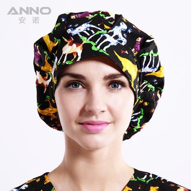 pattern printing Bon Cap suitable for long  hair Woman hats nurse uniforms cotton hat
