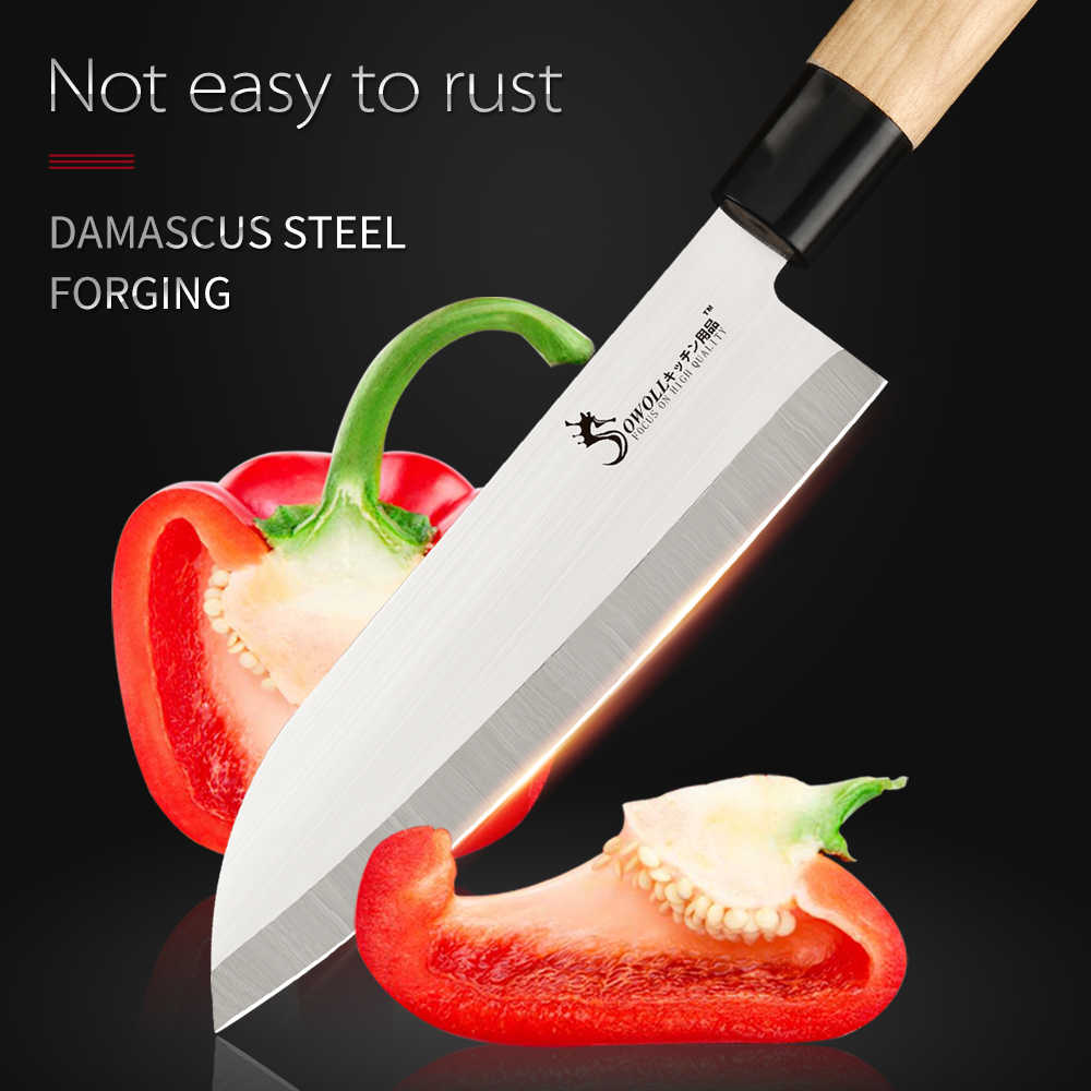 SOWOLL Sashimi Chef Santoku Chopping Knife Japanese Stainless Steel Kitchen Knife High Carbon Steel Blade Nakiri Meat Cleaver