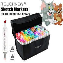 168 Colors TOUCHNEW 6 Painting Art Markers Pen Brush Set Dual Headed Oily Alcohol Manga Animation Drawing Sketching Supplies