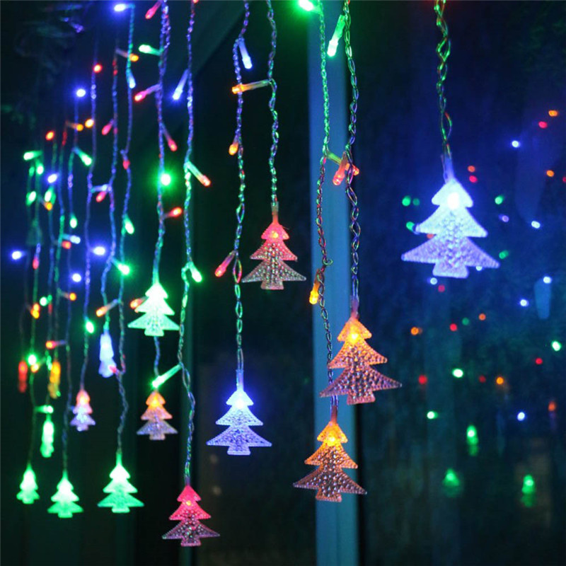 Outdoor Decorative Lamp String AC 220V Window Xmas The Eaves Railing Christmas Tree Pendant Decor LED Lamp String Belt Tail Plug