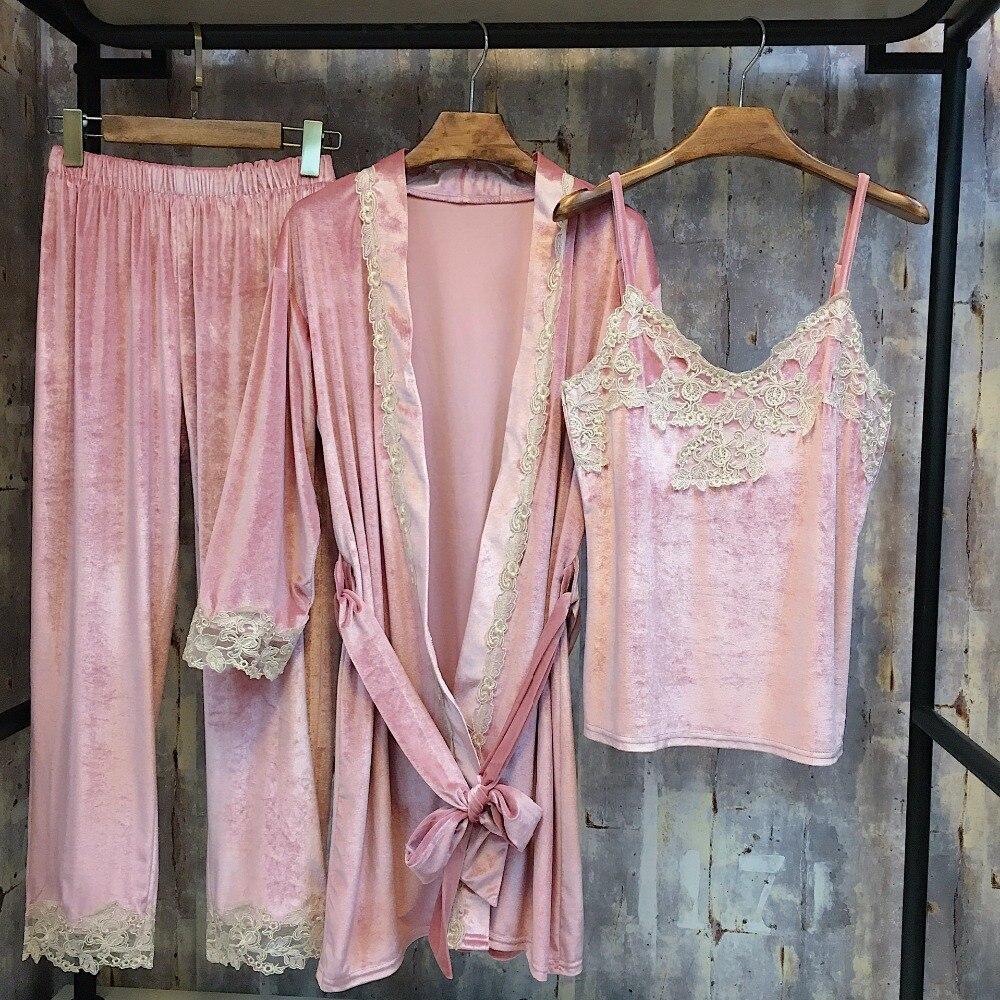 New Women's Autumn Winter Pajama Set Velvet Lace Nightwear Three Piece Set Robe Trousers Home Clothes Thicken Sleepwear
