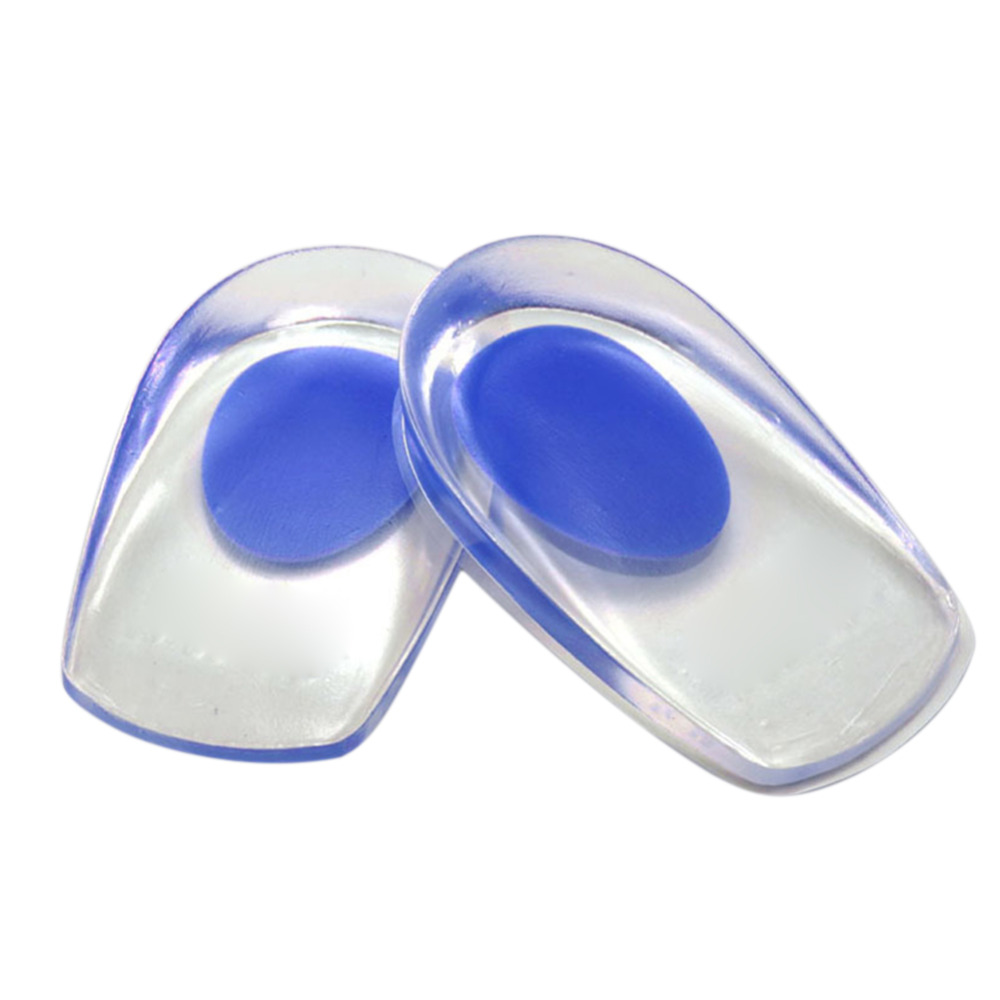 1 Pair Heel <font><b>Support</b></font> Pad <font><b>Cup</b></font> Gel <font><b>Silicone</b></font> Shock Cushion Orthotic Increased Insoles Plantar Care Foot Inserts Soft <font><b>Half</b></font> Height
