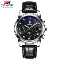 TEVISE Men Mechanical Automatic Self Wind Watch Leather Moon Phase Complete Calendar Wristwatches Auto Date Watches