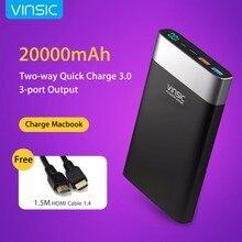 Vinsic 20000 mah puissance banque charge rapide 3.0 deux-façon charge rapide 3 ports de sortie mobile powerbank pour iphone 7 xiaomi mi5 redmi