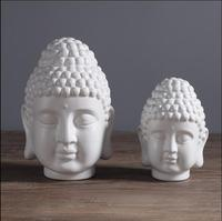 Modern minimalist ceramic Buddha head sculpture porcelain Buddha statue Southeast Asian ornaments Buddhist figurines Zen gift