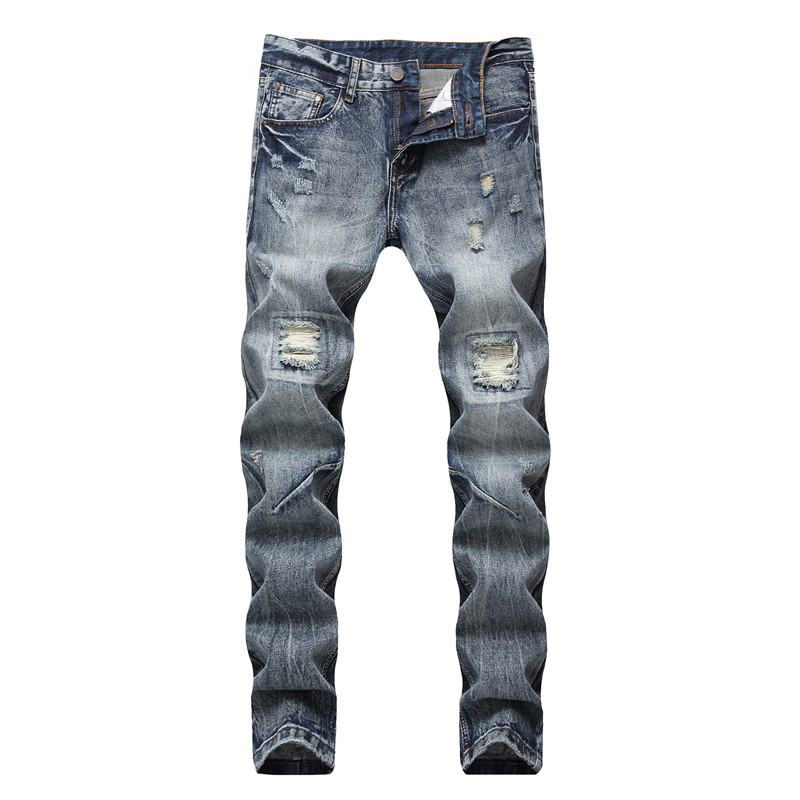 Newsosoo New Mens Straight Ripped Denim Pants With Holes Streetwear Distressed Jeans Pants Joggers Plus Size 28-42 Washed Blue