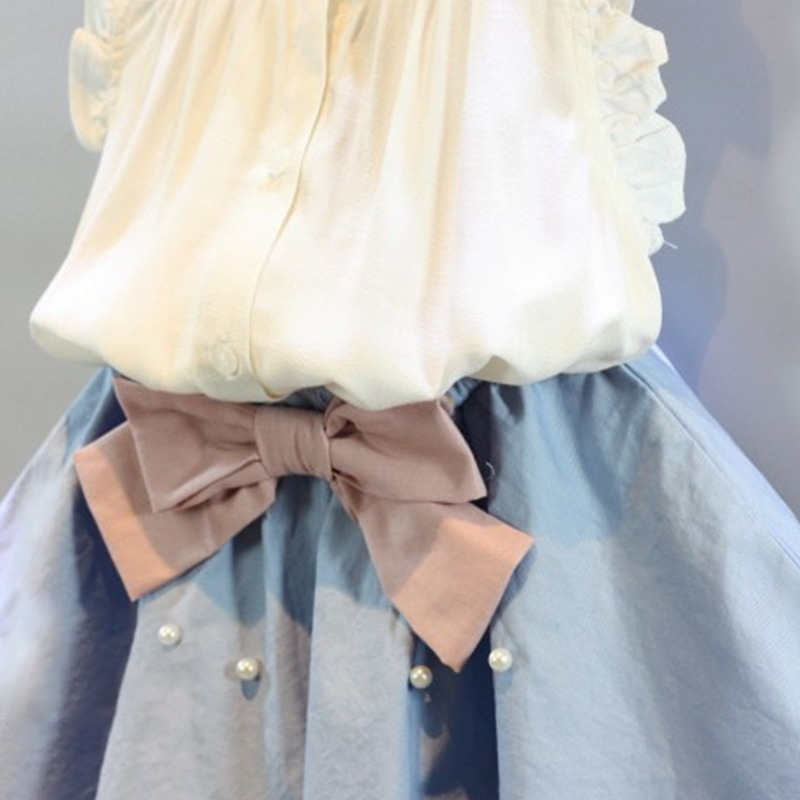 HTB18Zx2SXXXXXaPXFXXq6xXFXXXw - 2-8 Years Kids Clothes for Girls The Bow Skirt and Lace Top Summer Suit Korean Style Children's Clothing Sets Baby Toddler Set