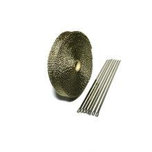 15 メートル/50ft × 1 インチチタン熱エキゾースト熱ラップ排気ラップ溶岩繊維テープ 6 個ステンレス鋼の絆キット