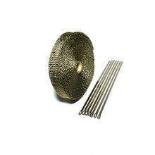 15 m/50ft X 1 cal tytanowa termiczna nagłówek wydechowy rury ciepła Wrap wydechowy Wrap lawy taśma z włókna z 6 sztuk opaski ze stali nierdzewnej zestaw