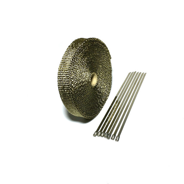 15m/50ft X 1inch Titanium Thermal Exhaust Header Pipe Heat Wrap Exhaust Wrap Lava Fiber Tape With 6 Pcs Stainless Steel Ties Kit