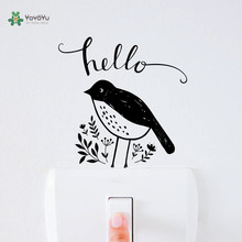 YOYOYU Vinyl Wall Decal Hello Bird Bute Animal Switch Small Objects Funny Kids Room Home Decoration Stickers FD467