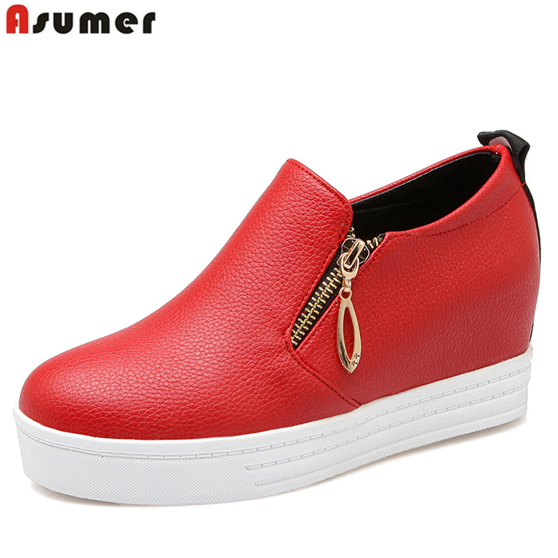 Plus size 34-43 new fashion women pumps round toe platform casual single shoes woman soft pu leather ladies dress shoes female