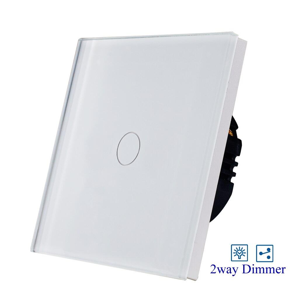 EU/UK 1 gang 2way dimmer sensor weiß glas licht touch schalter