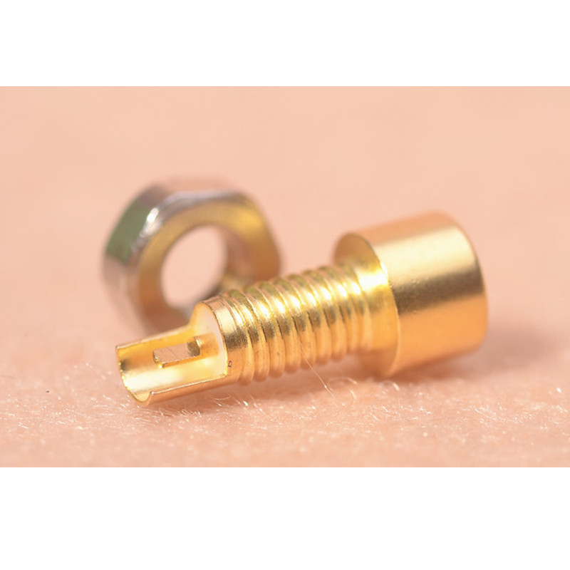 2 Pcs Custom Made Universal Pin Socket Female Socket Mmcx Pure Copper Gold Plated Built-in Hreaded Nut Holder