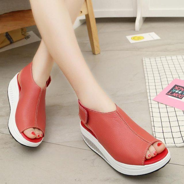 Sandálias das mulheres 2019 moda de nova conveniente sapatos mulher plataforma de boca de peixe sandálias das senhoras mulheres verão sapatos hook & loop